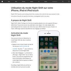 Utilisation du mode NightShift sur votre iPhone, iPad et iPodtouch