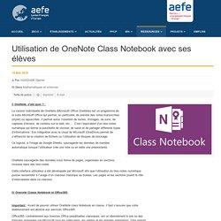 Utilisation de OneNote Class Notebook avec ses élèves