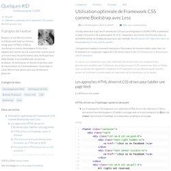 Utilisation optimisée de Framework CSS comme Bootstrap avec Less