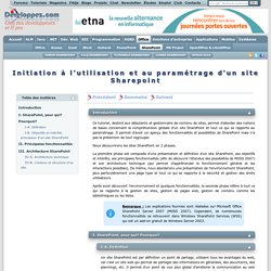 Initiation à l'utilisation et au paramétrage d'un site Sharepoint