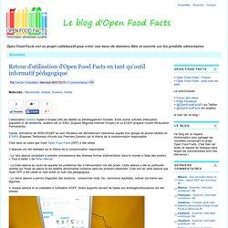 Retour d'utilisation d'Open Food Facts en tant qu'outil informatif pédagogique