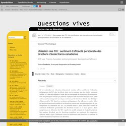 Utilisation des TIC: sentiment d'efficacité personnelle des directions d'école franco-canadienne