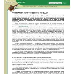 UTILISATION DES DONNÉES PERSONNELLES