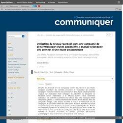 [Art] Utilisation du réseau Facebook dans une campagne de prévention pour jeunes adolescents: analyse secondaire des données d'une étude postcampagne