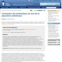 AGRICULTURE CANADA 25/09/12 Utilisation accrue des probiotiques grâce à la sensibilisation