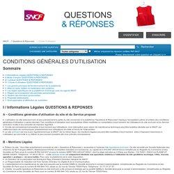 Charte d'utilisation - SNCF Questions & Réponses
