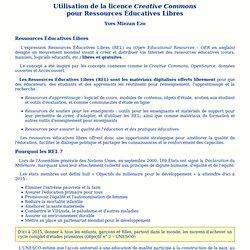 Utilisation de la licence Creative Commons pour Ressources Éducatives Libres