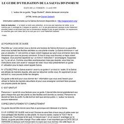 LE GUIDE D'UTILISATION DE LA SALVIA DIVINORUM