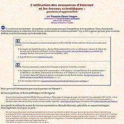 L'utilisation des ressources d'Internet et les travaux scientifiques