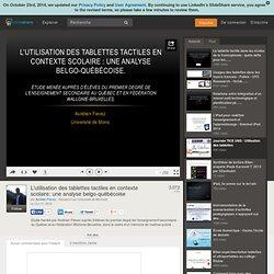 L'utilisation des tablettes tactiles en contexte scolaire: une analys…