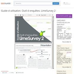 Guide d utilisation. Outil d enquêtes. LimeSurvey 2 - PDF Téléchargement Gratuit