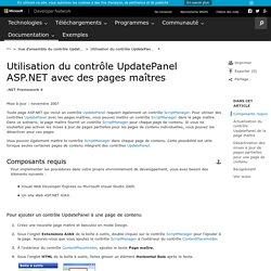 Utilisation du contrôle UpdatePanel ASP.NET avec des pages maîtres