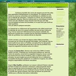 III/ Utilisation des venins de serpents - Tpe sur les venins 2009/2010