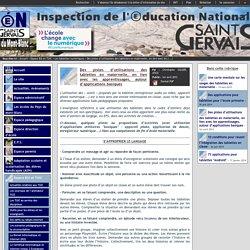 IEN St Gervais / Pays du Mont-Blanc - Des pistes d'utilisations des tablettes en maternelle, en lien avec les apprentissages, autour d'applications basiques