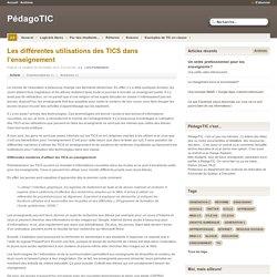 Les différentes utilisations des TICS dans l'enseignement
