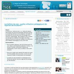 L'Agence nationale des Usages des TICE - Les boîtiers de vote : quelles utilisations pédagogiques des réponses des étudiants ?
