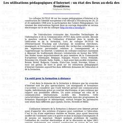 Les utilisations pédagogiques d'Internet : un état des lieux au-delà des frontières - Bulletin APVL Strasbourg - Numéro 57