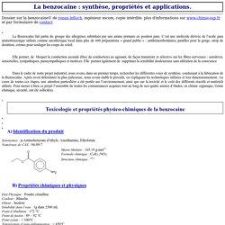 La Benzocaïne : voies de synthèse, propriétés physico chimiques, toxicologie - Utilisations pharmaceutiques et applications de la benzocaine.