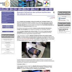 Exemple d'utilisations des surfaces tactiles dans des séances de cours