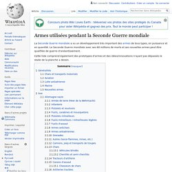 Armes utilisées pendant la Seconde Guerre mondiale