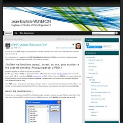 [PHP] Utiliser PDO avecPHP - Jean-Baptiste VIGNERON
