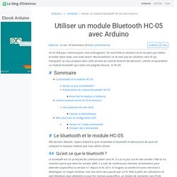 Utiliser un module bluetooth HC-05 avec Arduino