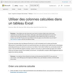Utiliser des colonnes calculées dans un tableau Excel
