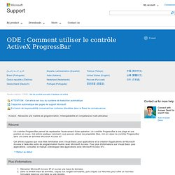 ODE : Comment utiliser le contrôle ActiveX ProgressBar