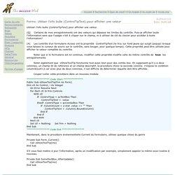 Forms: Utiliser l'info bulle (ControlTipText) pour afficher une valeur