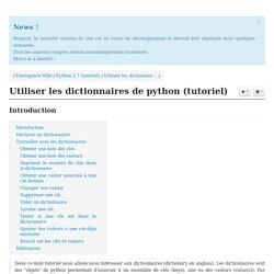 Utiliser les dictionnaires de python (tutoriel)