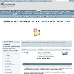 Utiliser les fonctions Date et Heure sous Excel 2007