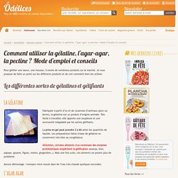 Comment utiliser la gélatine, l'agar-agar, la pectine ? Mode d'emploi et conseils