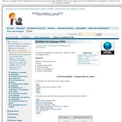 Utiliser le langage HTML
