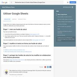 Utiliser GoogleSheets - Ordinateur - Aide ÉditeursDocs