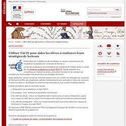 Utiliser TACIT pour aider les élèves à renforcer leurs stratégies de lecteurs-Lettres-Éduscol