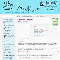 Utiliser un tableur - Collège Jean-Monnet