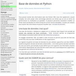 Utiliser base de données avec python - mysql / sqlite / postgre - cours tutoriel débutant