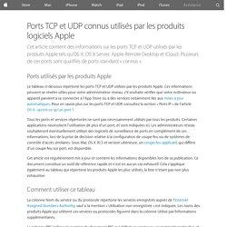 Ports TCP et UDP connus utilisés par les produits logiciels Apple - Assistance Apple