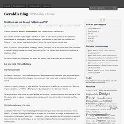 N'utilisez pas les Design Patterns en PHP