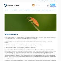 Utilitarianism - Animal Ethics