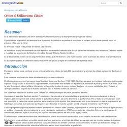 Crítica al Utilitarismo Clásico - Monografias.com