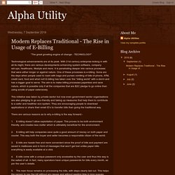 Alpha Utility: Modern Replaces Traditional - The Rise in Usage of E-Billing