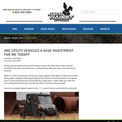 Are utility vehicles a wise investment for me today?