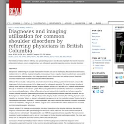 Diagnoses and imaging utilization for common shoulder disorders by referring physicians in British Columbia