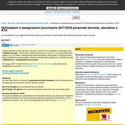 Utilizzazioni e assegnazioni provvisorie 2017/2018 personale docente, educativo e ATA