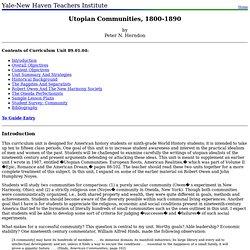 89.01.04: Utopian Communities, 1800-1890