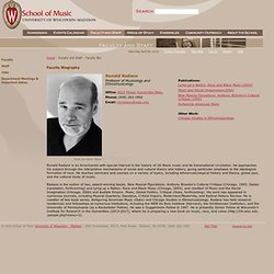 UW School of Music : Ronald Radano