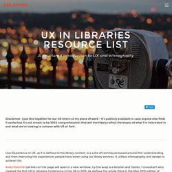 UX - User Experience - in Libraries