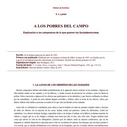 V. I. Lenin (1903): A los pobres del campo