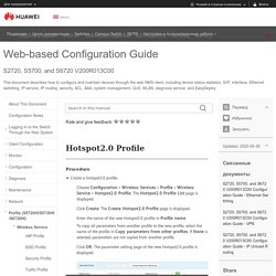 Hotspot2.0 Profile - S2720, S5700, and S6720 V200R013C00 Web-based Configuration Guide - Huawei